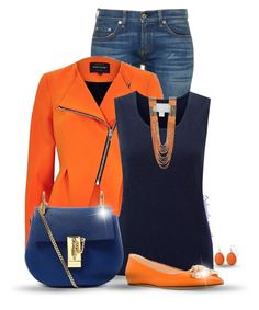 """Orange & Blue"" by oribeauty-cosmeticos ❤ liked on Polyvore featuring rag & bone, River Island, Pure Collection, Chloé, Casadei, Natasha Accessories and Liz Claiborne"