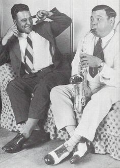 Babe Ruth tortures Lou Gehrig with some lovely saxophone melodies by guano, via Flickr