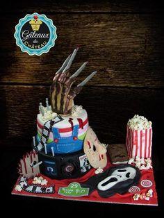 Horror movie birthday cake - Cake by Les Gâteaux du Château Scary Halloween Cakes, Scary Cakes, Halloween Birthday, Halloween Treats, Birthday Ideas, 13th Birthday, Freddy Krueger, Themed Birthday Cakes, Themed Cakes