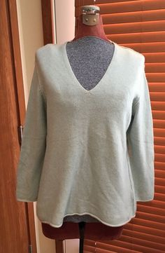 Eileen Fisher Light Blue 100% Cashmere V Neck Sweater Woman Size 1X EUC #EileenFisher #Sweater #Cashmere