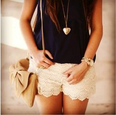 Lace shorts :)❤ I love everything about this! The necklace, the purse, the lace shorts, etc.