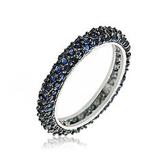 Bling Jewelry Sterling Silver Pave Blue CZ Stackable Ring * Be sure to check out this awesome product.