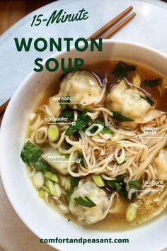 A quick & easy wonton soup recipe that takes only 15 minutes to make. Chicken Soup Recipes, Easy Soup Recipes, Easy Dinner Recipes, Cooking Recipes, Wonton Recipes, Fast Recipes, Easy Dinners For Two, Easy Meals, Asian Broth Recipe