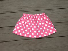 Girls Valentine skirt. Pink white polka dots. by EverythingSorella, $22.50