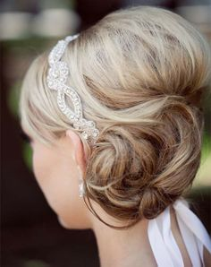 side bun with pretty hairband