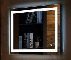 57aca6e25b5c Wall Mount Led Lighted Bathroom Mirror Vanity Defogger Square Lights Touch  Light Mirror Frameless Mirror
