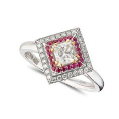 A princess cut diamond set in a complimentary square double halo featuring diamonds and rubies respectively. Ruby is believed to bring passion and zest for life to the wearer! We are huge ruby fans. Set in white gold with yellow gold claws. Designer Engagement Rings, Diamond Engagement Rings, Pink Sapphire, Blue Topaz, Unusual Rings, Princess Cut Diamonds, Brilliant Diamond, Wedding Jewelry, Wedding Bands