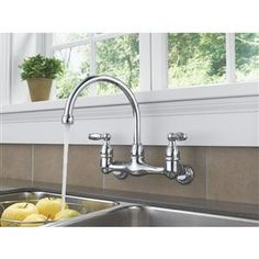 peerless p299305lf two traditional lever handle wall mount kitchen faucet chrome