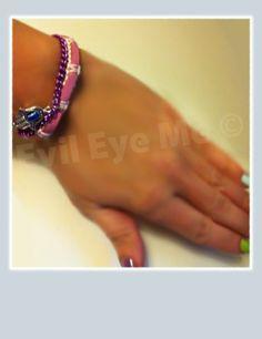 PinkWhitePurple Khamsa Bracelet by EvilEyeMe on Etsy, $19.99