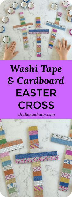 Washi tape wrapped cardboard Easter cross craft for kids Easter activities Washi Tape Cross Craft - Beautiful Easter and Christmas Decor Bible School Crafts, Bible Crafts For Kids, Sunday School Crafts, Crafts For Girls, Easter Art, Easter Crafts For Kids, Easter Decor, Easter Ideas, Washi Tape