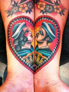 tattoo old school / traditional nautic ink - sailor couple in love (by Samuele Briganti)
