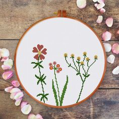 Wildflowers cross stitch pattern| Modern cute flower counted chart| Easy…