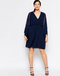 ASOS Curve | ASOS CURVE 70's Skater Dress with Deep Plunge and Kimono Sleeve at ASOS