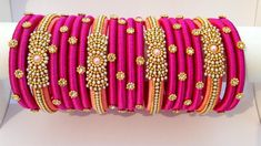 Silk Thread Designer Bangles set of 20 Peach & Pink Indian Silk Thread Bangles Design, Silk Thread Necklace, Silk Bangles, Bridal Bangles, Thread Jewellery, Diy Jewellery, Indian Bangles, Temple Jewellery, Jewellery Making