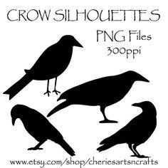 Crow Silhouettes, Crow Clipart, Clip Art, Birds, Black Crows Graphics, Silhouettes, PNG Graphics, Crow Clip Art Kit, Black Bird Clipart