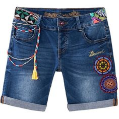 Desigual Africa Bermuda Jeans ($110) ❤ liked on Polyvore featuring shorts, denim, women and desigual