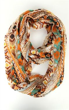 Deb Shops #Infinity #Scarf with Multicolor Mixed Pattern  $12.99