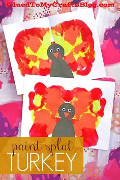 Glued To My Crafts - Colorful Paint Splat Turkey kid craft idea - you won't need elaborate supplies or a ton of time! I've even included a FREE PRINTABLE to get you started! Thanksgiving Crafts For Toddlers, Thanksgiving Crafts For Kids, Thanksgiving Cookies, Thanksgiving Decorations, Thanksgiving Turkey, Thanksgiving Activities, Fall Toddler Crafts, Kindergarten Thanksgiving Crafts, Preschool Christmas