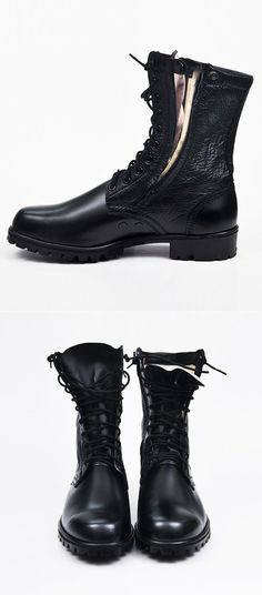 Tattee Boy Clothes | Men's Military Zippered Rescue Boots