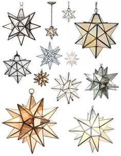 The Moravian Star: 26 Points Of Style --- I want a bunch of these hanging on the patio or in the dining room Moravian Star Light, Star Lamp, Deco Table, My New Room, Cottage Chic, Interior And Exterior, Stained Glass, Interior Decorating, Sweet Home