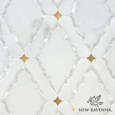 Josephine, a stone water jet cut mosaic, shown in Shell, venetian honed Calacatta, honed Gold Glass, is part of the Aurora Collection by Sara Baldwin for New Ravenna Mosaics.