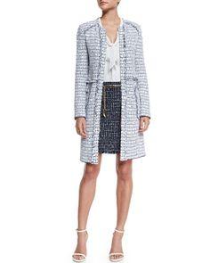 -65YN St. John Collection  Monte Solaro Jewel-Neck Topper Coat, Bianco/Multi Silk Georgette Tie-Neck Shell, Bianco Monte Solaro Knit Mini Skirt, Navy Multi