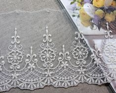 ★DESCRIPTION★ ・Lenght : 1 ・Width ・Color : Ivory ・Material : Cotton Nylon ※Continuous Piece : By 14 Yards Made in KOREA Our fabric are very high quality. You can satisfy all items! ※Custom Orders If you want to purchase large quantity, Please contact us Eyelet Lace, Tulle Lace, Lace Trim, Cotton Crochet, Crochet Lace, Lace Drawing, Cutwork, Bridal, Couture Fashion