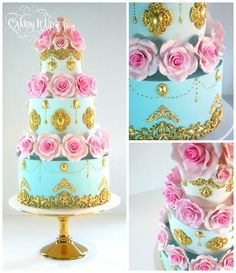 Pink Sugar Flowers & Gold Filagree Tiered Cake