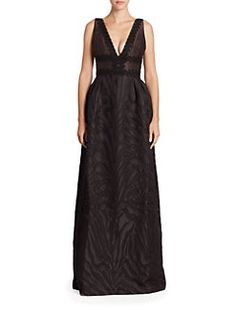 ML Monique Lhuillier - Beaded Jacquard A-Line Gown