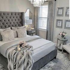 The Fundamentals of Elegant Grey Bedroom Decor Revealed - myriadinspira Gray Bedroom, Grey Bedding, Home Decor Bedroom, Bedroom Curtains, Trendy Bedroom, Bedroom Ideas Grey, Grey Bedroom Design, Decor Room, Grey Bedroom Furniture