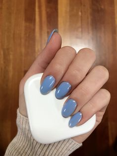 Baby blue/periwinkle oval acrylic nails