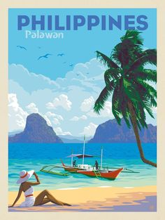 Philippines: Palawan | Anderson Design Group Poster Retro, Poster S, Poster Prints, Poster Wall, Voyage Philippines, Philippines Travel, Philippines Palawan, Filipino Art, Art Et Design