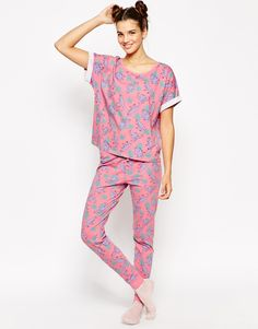 Image 1 of ASOS Pretty Dinosaur Print Tee & Legging Set