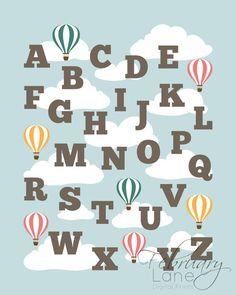 Nursery Alphabet ABCs Hot Air Balloon Printable от FebruaryLane