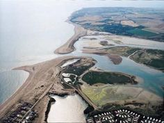 Aerial shot of Pagham harbour. Pagham, West Sussex. A picture of: Pagham