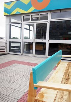 Windows manifestation and reclaimed wood furniture made by Bristol Wood recycling project Design Studio London, Slow Design, Design Movements, Circular Economy, Reclaimed Wood Furniture, Graphic Design Studios, Courtyards, Sustainable Design, Innovation Design