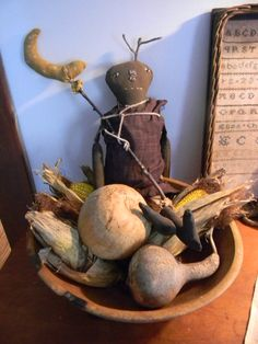 Fall Thyme...old bowl with dried gourds, Indian Corn & prim doll...Notforgotten Farm.