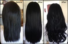 "Love this full head of 18"" micro ring extensions in black with a dark brown woven through! Lush!!"