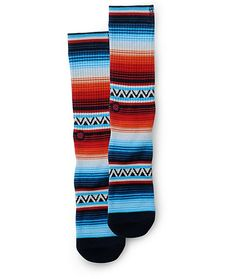 Brighten any outfit with an orange, light blue, navy, white, and black jacquard knit stripe design with a plush combed cotton construction for comfort.