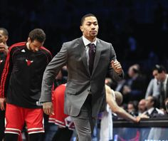 Chicago Bulls point guard Derrick Rose sprints back to the bench after wishing his teammates well just before the start of their game against the Brooklyn Nets at Barclay Center, in Brooklyn, New York. — Nuccio DiNuzzo, Chicago Tribune, April 20, 2013
