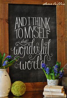 "DIY ""Wonderful World"" Chalkboard Print - Beneath My Heart (xmas messages chalkboard art) Chalk It Up, Chalk Art, Chalkboard Designs, Chalkboard Ideas, Chalkboard Sayings, Chalkboard Lettering, Blackboard Art, Chalkboard Printable, Kitchen Chalkboard"