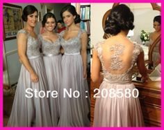 Real Model Silver Grey Cap Sleeve Lace Beaded Backless Long Bridesmaid Dresses Evening 2014 Free Shipping E5316 $135.00
