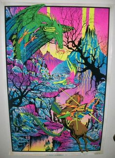 #Vintage #Blacklight Poster ST GEORGE AND THE DRAGON