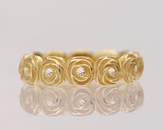 Women's wedding band, eternity ring, women's single band, diamond ring, rose wedding ring for her, floral gold ring - Rose No. 05 Etsy Shop -TinkenJewelry