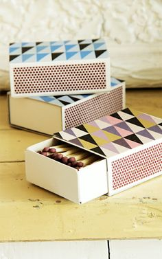 patterned match boxes