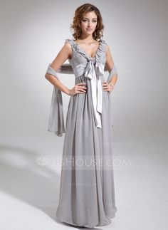 Empire V-neck Floor-Length Chiffon Charmeuse Bridesmaid Dress With Beading Bow(s) Cascading Ruffles (007025888) - JJsHouse