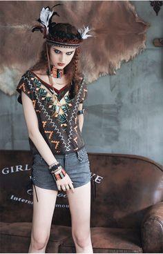 6e63727936 Summer women vintage boho short cotton t shirt - Aporia.as Sexy Shirts