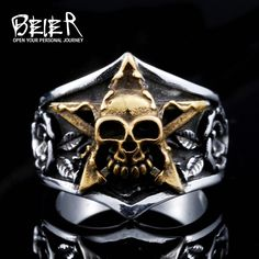 Fashion Skull Punk Tidal Gentleman Personality Ring The Index Finger  Pentagram Man`s Jewelry BR8-425 59e80a49c2d2