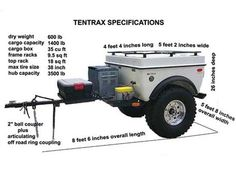 Tentrax Adventure Trailers, Off Road Trailers, All Terrain Trailers - Specifications