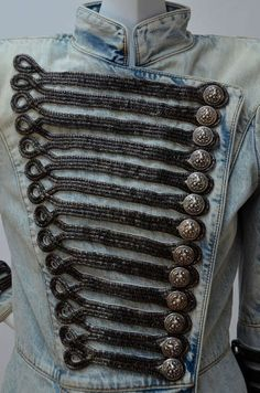 Rare Balmain Spring 2009 RTW Military Style Denim Jacket  New 38 FR | From a collection of rare vintage jackets at http://www.1stdibs.com/fashion/clothing/jackets/